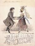 """""""Första dansen"""". """"Bondbröllop vid Hjula i Södermanland nov. 1837"""" Nordiska museets arkiv. Akvarell av Fritz von Dardel, 1837"""