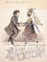 """""""Första dansen"""". """"Bondbröllop vid Hjula i Södermanland nov. 1837"""" Akvarell av Fritz von Dardel"""