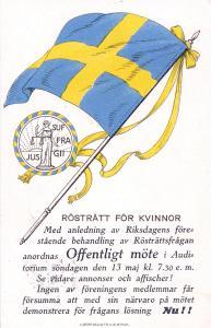 Rösträtt för kvinnor, 1917. Med sigill av Fru Justitia, rättvisans gudinna (från KvinnSam, Göteborgs universitetsbibliotek)